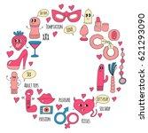 doodle humorous vector sextoys... | Shutterstock .eps vector #621293090