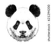 panda head is symmetrical looks ... | Shutterstock .eps vector #621294200
