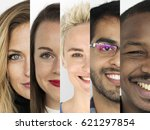 set of diversity people happy... | Shutterstock . vector #621297854