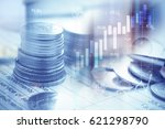 stacks of coins on banking... | Shutterstock . vector #621298790