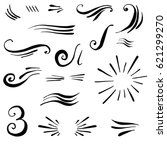 set of hand drawn calligraphic... | Shutterstock .eps vector #621299270