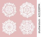 set of white lace doilies  ... | Shutterstock .eps vector #621328994