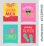 vector set of summer holidays... | Shutterstock .eps vector #621339410