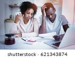 stressed african american... | Shutterstock . vector #621343874