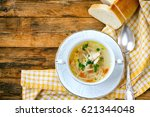 home chicken soup with noodles  ... | Shutterstock . vector #621344048