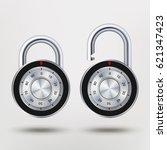 combination padlock  realistic...   Shutterstock .eps vector #621347423