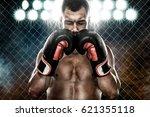 sportsman muay thai boxer...   Shutterstock . vector #621355118