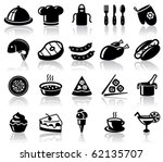 Kitchen And Food Black Icons Set