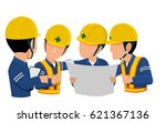 workers are meeting together on ... | Shutterstock .eps vector #621367136