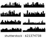 city silhouette set   vector | Shutterstock .eps vector #621374738