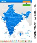 india map and flag   highly... | Shutterstock .eps vector #621383846