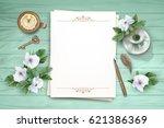 vector white flowers  blank... | Shutterstock .eps vector #621386369