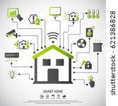 smart home. flat design style... | Shutterstock .eps vector #621386828