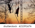 trapeze artists in outdoor... | Shutterstock . vector #621391676