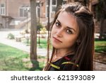 very beautiful young woman in a ... | Shutterstock . vector #621393089