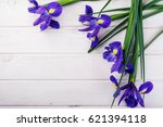 frame with irises on white... | Shutterstock . vector #621394118