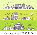 day and night urban european... | Shutterstock .eps vector #621395624
