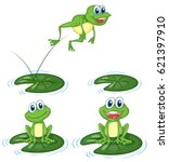green frogs jumping on water... | Shutterstock .eps vector #621397910
