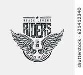 black legend riders typographic ... | Shutterstock .eps vector #621412340