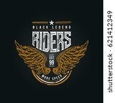 black legend riders typographic ... | Shutterstock .eps vector #621412349