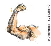colored hand sketch biceps.... | Shutterstock .eps vector #621425540