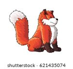 cute fox cartoon character | Shutterstock .eps vector #621435074