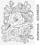 floristic coloring page with... | Shutterstock .eps vector #621448220
