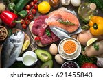 balanced diet food background.... | Shutterstock . vector #621455843