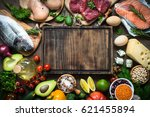 balanced diet food background.... | Shutterstock . vector #621455894