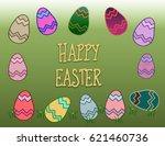 happy easter eggs | Shutterstock . vector #621460736