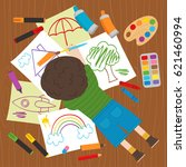 boy draws on the floor   vector ... | Shutterstock .eps vector #621460994