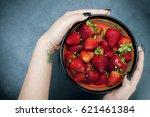 strawberries organic fresh | Shutterstock . vector #621461384
