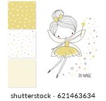 Stock vector cute little fairy surface design and seamless patterns graphic for kid s clothing use for 621463634