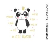 little panda princess. nursery... | Shutterstock .eps vector #621463640