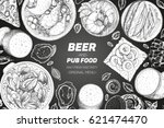 pub food frame vector... | Shutterstock .eps vector #621474470