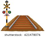 railroad and traffic light for... | Shutterstock .eps vector #621478076