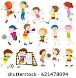 children doing different...   Shutterstock .eps vector #621478094