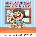 idiom poster for have your cake ... | Shutterstock .eps vector #621478190
