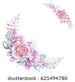watercolor romantic floral... | Shutterstock . vector #621494780
