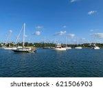 Boats Moored Inside A Marina...