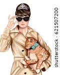 hand drawn image   girl wearing ... | Shutterstock . vector #621507200