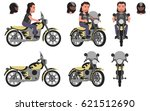 biker. a motorcyclist and his... | Shutterstock .eps vector #621512690