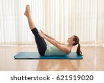 abs and core workout on yoga... | Shutterstock . vector #621519020