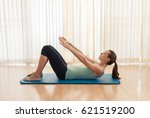 abs crunches exercise.  | Shutterstock . vector #621519200