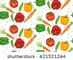 seamless pattern of vegetables. ... | Shutterstock .eps vector #621521264