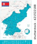 north korea map and navigation... | Shutterstock .eps vector #621522188