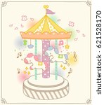 cute colorful merry go round...   Shutterstock .eps vector #621528170