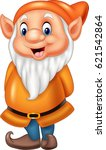 cartoon happy dwarf isolated on ... | Shutterstock .eps vector #621542864
