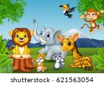 cartoon wild animal in the... | Shutterstock . vector #621563054
