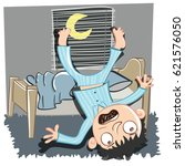 cartoon man falling out of bed. | Shutterstock .eps vector #621576050